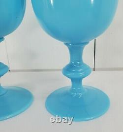 Set of 2 Vintage Portieux Vallerysthal French Opaline Blue 6.5 Water Goblets