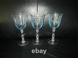 Set of 3 Fostoria Navarre Blue Crystal Wine Glasses 6 1/2 Etched Claret