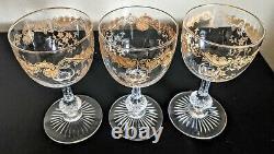 Set of 3 Saint Louis Crystal Massenet Gold Encrusted Burgundy Wine Glasses