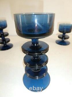 Set of 3 Wedgwood Sheringham Blue Glass Ronald Stennett Wilson Candlestick (A23)