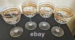 Set of 4 Antique Saint Louis Crystal Wine Glasses Gold Encrusted