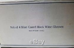 Set of 4 Blue Cased Hock Wine Glasses Royal Gallery Bohemian Cut to Clear New