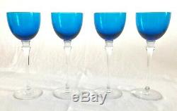 Set of 4 French Crystal, Saint (St) Louis Grand Lieu Sky Blue 9 Hocks, Wine