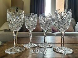 Set of 4 Rare Exquisite St. Louis Crystal Florence Pineapple Claret Wine Glasses