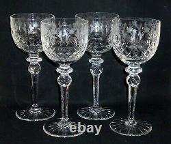 Set of 4 Rogaska QUEEN Cut Crystal WINE HOCKS Goblets Glasses 8 Excellent