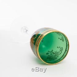 Set of 4 Tiffin Franciscan Melrose Green #15074 Gold Encrusted Wine Glasses 6.5