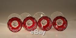 Set of 4 Vintage Czech Cranberry Cut to Clear Glass Roemer Wine Goblets c. 1955