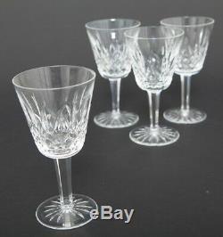 Set of 4 Vintage Waterford Cut Crystal Lismore Claret Wine Goblets Hock Stemware