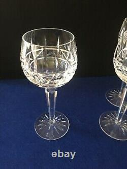 Set of 4 Waterford Crystal Kylemore Wine Hock Goblets 7 3/8 excellent