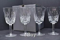 Set of 4 Waterford Crystal Lismore Water Goblets 6 7/8 with Box Wine glasses