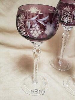 Set of 6 AJKA Hungary Marsala Amethyst Purple Wine Hocks, Etched Cut to Clear