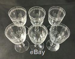 Set of 6 BACCARAT France Crystal 4 7/8 Wine Glass OSTENDE Pattern c. 1916