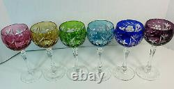 Set of 6 Bohemian Czech Multi-Color Crystal Cut to Clear Wine Glasses 7 5/8
