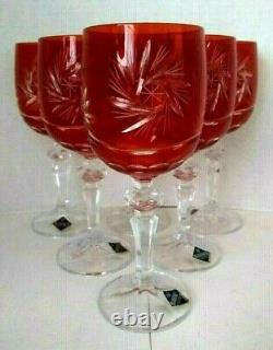 Set of 6 Bohemian Czech Ruby Red Hand Cut To Clear Crystal Wine Stem Goblets