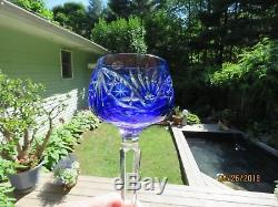 Set of 6 Bohemian Multicolored Cut To Clear Lead Crystal Hocks Wine Glasses