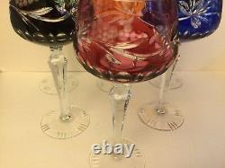 Set of 6 Clorful Ajka Cut to Clear Crystal Wine Glasses, Goblets Hungary