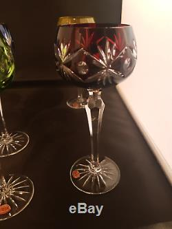 Set of 6 Crystal Coloured Bohemian Hock Wine Glass x 6