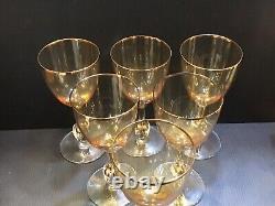 Set of 6 Czechoslovakia Atlas Amber Gold Trim & Ball in Stem Wine Glasses MCM