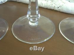 Set of 6 Faberge Xenia Cut to Clear Crystal Wine Glasses all Signed