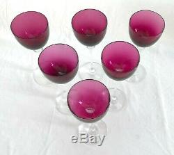 Set of 6 French Crystal, Saint (St) Louis Grand Lieu Amethyst 9 Hocks, Wine