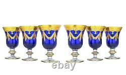 Set of 6 Interglass Italy Crystal Glasses Cobalt Blue Italian Wine Goblets