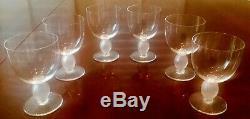 Set of 6, LALIQUE Langeais Crystal 4 3/4 Bordeaux Wine Goblets. Hand blown, VTG