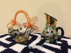 Set of 6 Mackenzie Childs Wine Glass GOBLETs Retired Tulips Polka Dots Designer