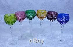 Set of 6 Marsala by Ajka Bohemian Cut to Clear Crystal Wine Water Hocks Goblets