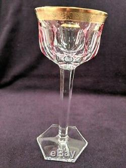 Set of 6 Moser Cased Crystal gold rim Wine Goblets, Mint