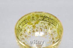 Set of 6 Moser Chartreuse Green Gold Floral Garlands Sherry Wine Glasses 1880-90