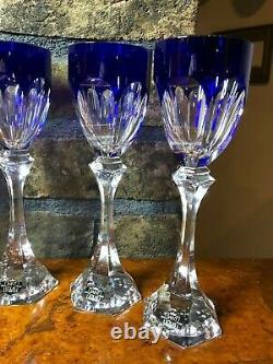 Set of 6 Saint Louis France Bristol Blue Cut Clear Crystal Wine Glasses
