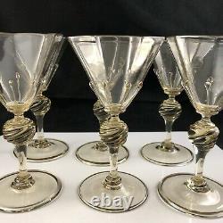 Set of 6 Salviati Venetian Murano Honey Amber Octagonal Twist 5 3/8 Wine Glass