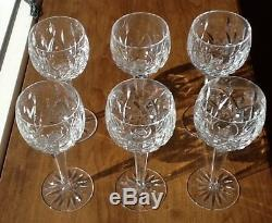 Set of 6 Waterford Cut Crystal Lismore Wine Hock Goblets 7-3/8 Tall