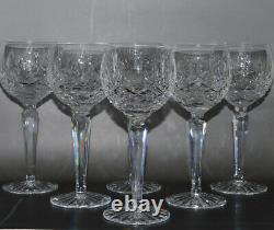 Set of 6 Waterford Lismore Balloon Wine Goblets Glasses Signed
