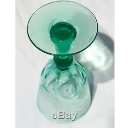 Set of 8 Antique Cut Green Glass wines, England, Ca 1890