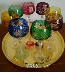 Set of 8 Czech Multi Color BOHEMIAN GLASS CUT TO CLEAR 8 1/4 Wine Hock Glasses