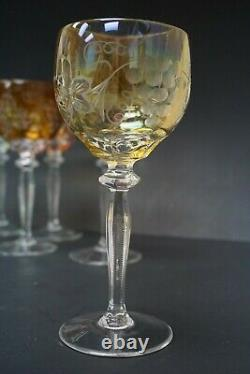 Set of 8 Multi Color BOHEMIAN GLASS CUT TO CLEAR Wine Glasses Goblets Free S&H