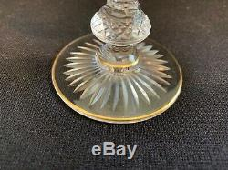 Set of 8 St Louis Massenet Gold Encrusted Wine-Burgundy Glasses 4 3/4 H