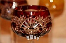 Set of 8 Vintage Bohemian Cut To Clear Crystal Wine Hocks Cobalt Etched NEW