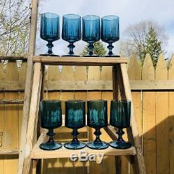 Set of 8 Vintage Colony Nouveau Riviera Blue Mid Century Wine Glasses RARE