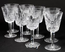 Set of 8 Vintage Signed Waterford Crystal Lismore Claret Wine Glasses 5-7/8 T