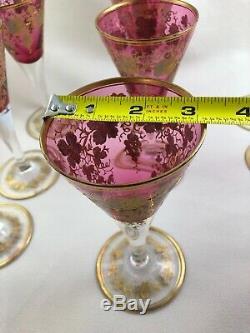 Set of 9 Antique MOSER 7 1/8 Wine Glass Bohemian Cranberry Gold Gilt Enamel