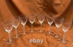 Set of Eight (8) Lalique France Phalsbourg Wine Stemware Glasses 6 7/8 Tall