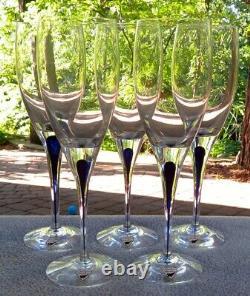 Set of FIVE Orrefors Intermezzo Blue White Wine Goblets New w Labels