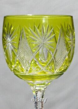 Set of Four Saint Louis Glass Cut to Clear Wine, Rare Teardrop Stem ca. 1910