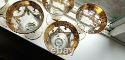 Set of SIX Interglass Italy Luxury Crystal Wine Goblets 24K Gold LOVELY