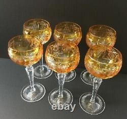 Set of Six Nachtmann 6 7/8 cut to clear Traube Amber/Gold Crystal Wine Glasses