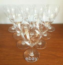 Set x10 Vtg BACCARAT France Crystal Chambolle Claret Wine Glasses 6 Signed