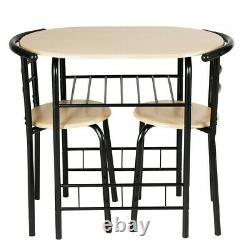 Small Bistro Dining Set Modern 3 Piece 1 Table 2 Chairs Kitchen Wine Rack Pub