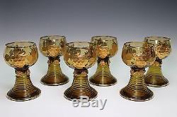 St. Bartholoma Souvenir Gold Gilt Glass Set of 6 German Wine Roemer Roemers